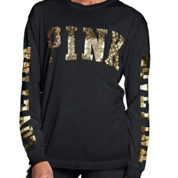 7de0f9accb626 New vs pink black gold campus crew bling sequins NWT